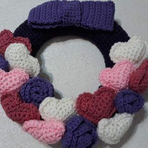 Other - Crochet handmade heart and flowers  wreath